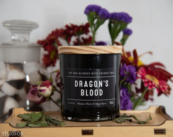 Dragon's Blood Soy Wax Coconut Wax  Candle with wood wick all Natural 9oz