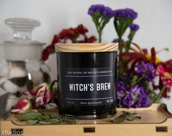 Witch's Brew Soy Wax Coconut Wax  Candle with wood wick all Natural 9oz