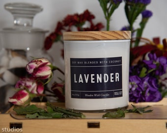 Lavender Soy Wax Coconut Wax  Candle with wood wick all Natural 9oz
