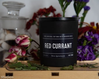 Red Currant Soy Wax Coconut Wax  Candle with wood wick all Natural 9oz