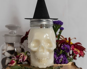 Skull Jar Witch's Brew Spooky Soy Wax Coconut Wax Candle with wood wick all Natural 16oz
