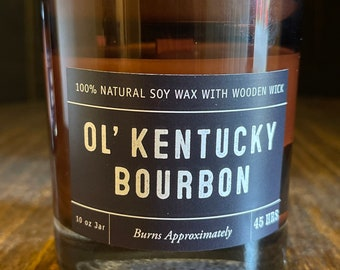 Ol' Kentucky Bourbon Soy Wax Coconut Wax  Candle with wood wick all Natural 9oz