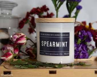 Spearmint Soy Wax Coconut Wax  Candle with wood wick all Natural 9oz