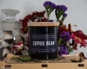 Coffe Bean Soy Wax Coconut Wax  Candle with wood wick all Natural 9oz
