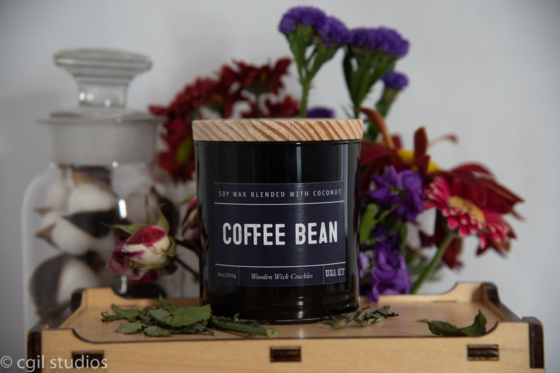 Coffe Bean Soy Wax Coconut Wax  Candle with wood wick all image 0