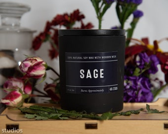 Sage Soy Wax Coconut Wax  Candle with wood wick all Natural 9oz