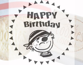 Cookie stamp engraving happy birthday pirate acrylic wood