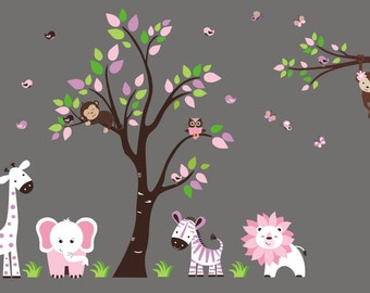 nursery wall decals pink animal decals baby girls nursery etsy