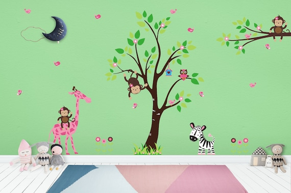 Safari Animal Decals Wall Stickers Girls Room Wall Art Elephant Decal