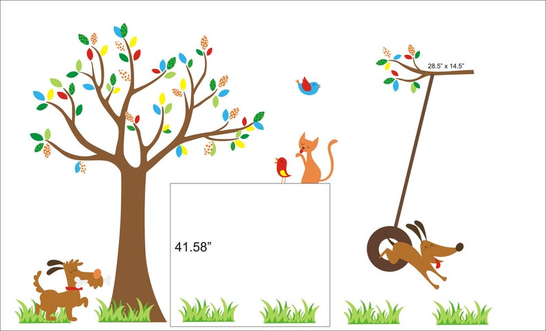 87 x 105 High Quality Removable and Reusable Wall Decals Nursery Art Decor Animals Tree Forest /& Woodlands Dogs Cats Large Layout