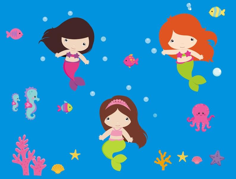 Girls Nursery Theme Baby Decor Mermaid Wall Decals Mermaid Nursery Decor Mermaid Nursery Stickers Girls Mermaid Decals 48 x 65
