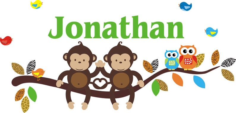 Monkeys on a Branch Decal 26 x 60 Monogrammed Nursery Decal Personalized Wall Decals for Kids Nursery Birds and Owls Wall Decals