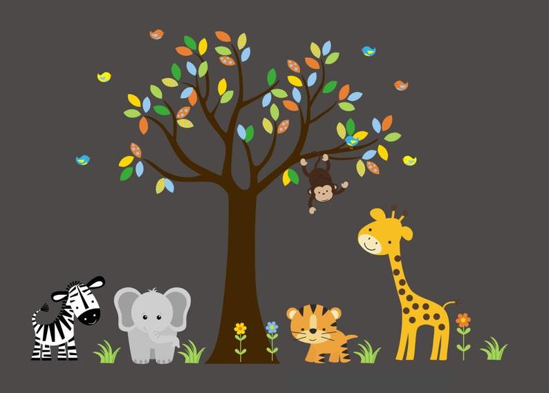 Nursery Wall Decal Safari Wall Decals Zebra Decal 82 x 105 Tree Wall Decal Tiger Decal Elephant Decal Giraffe Decal