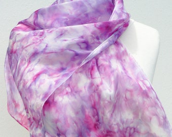 Purple pink silk scarf small hand painted lavender lilac silk scarves  Mothers day gift - Abstract scarf sheer natural silk ooak unique gift