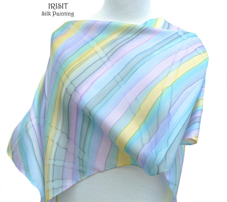 c9f87883530d2 Sky blue silk scarf hand painted - Pastel blue light lilac yellow striped  women wrap - High fashion handpainted pure twill silk scarf