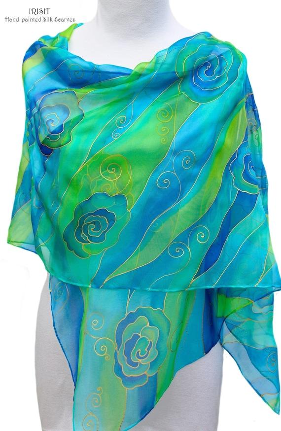 f96de8b27d26 Océan bleu long foulard en soie mousseline de soie peint à   Etsy