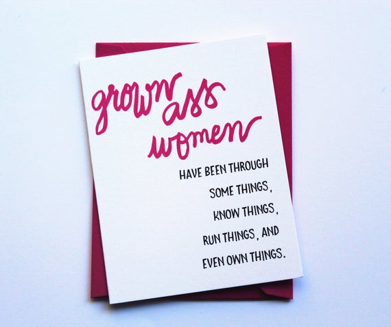 Grown Ass Women Birthday Card Happy Birthday Card Female Etsy