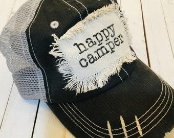 cb5f2ca12f622 Happy Camper~ Raggy Patch Trucker Hats