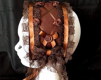 Brown with roses lolita headdress - classic gothic headband bonnet fascinator