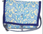 Yellow-Blue Paisley Quilted 12 by 12 in Jean bag, over shoulder bag, recycled jean bag, crossbody jean bag