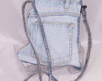 Faded light blue Jean Purse, 10  by 8 in Jean purse, Overshoulder Denim purse,  upcycled jean purse, recycled denim purse