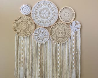 Dream Catcher Wall Hanging, Doily Dream Catcher, Boho Dreamcatcher, Dorm Decor, Bohemian Decor, Large Crochet Wall Hanging, Dreamcatcher