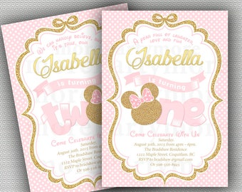 Pink And Gold Minnie Mouse Birthday Party Invitation First 1st 2nd Glitter Christmas Girl Printable