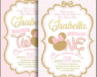 Pink And Gold Minnie Mouse First Birthday Party Invitation 1st 2nd Glitter Polka Dot Invite Girl