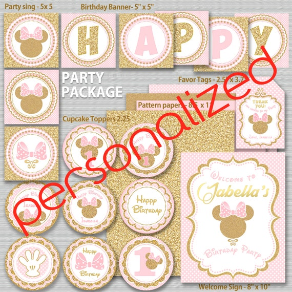 Pink And Gold Minnie Mouse Birthday Party Package First 2nd