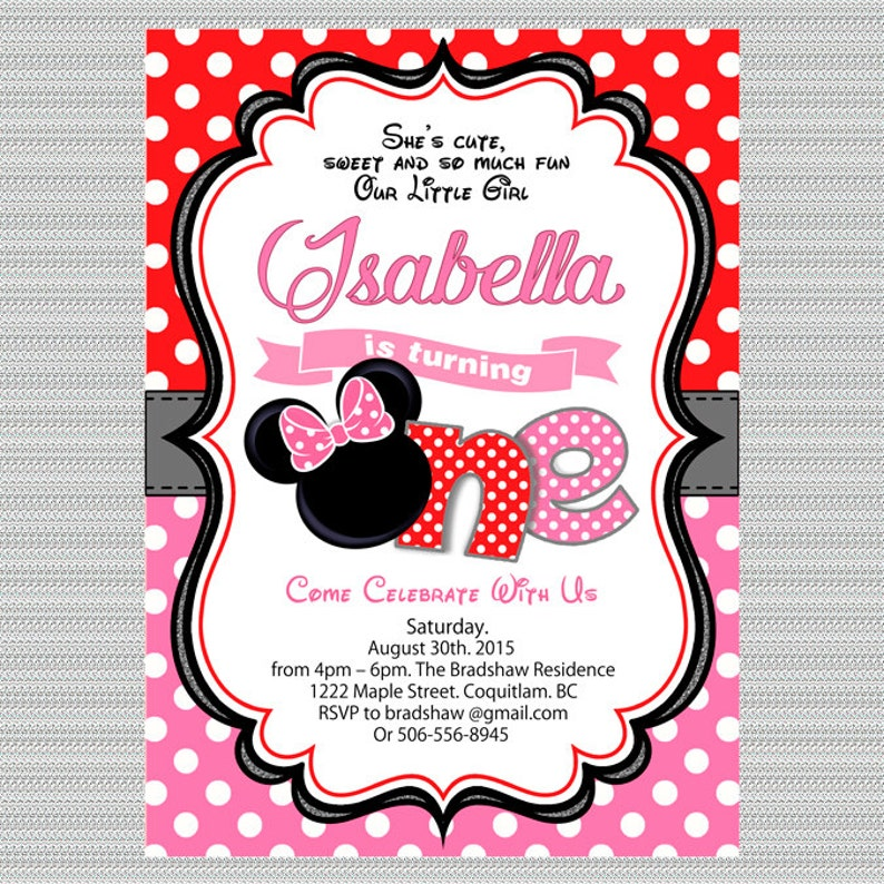 Minnie Birthday Party Invitation Hot Pink Red Mouse
