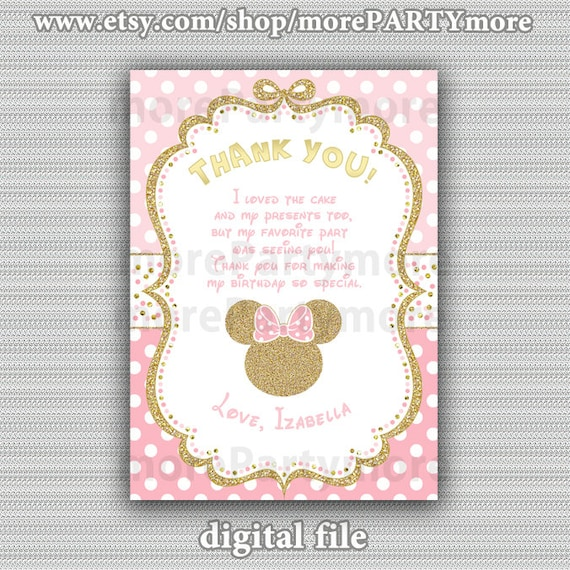 Pink And Gold Minnie Mouse Birthday Party Thank You Card Etsy