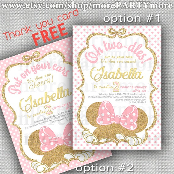 Pink and gold minnie mouse birthday party invitation first etsy image 0 filmwisefo