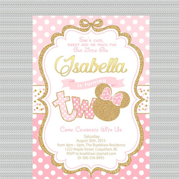 pink and gold minnie mouse birthday party invitation 2nd etsy