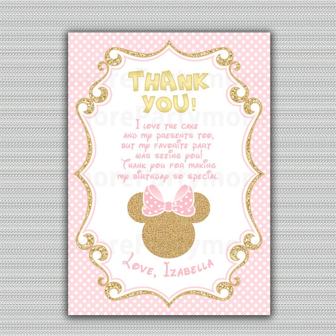 Pink And Gold Minnie Mouse Birthday Party Thank You Card