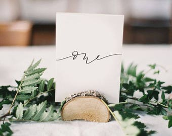 modern calligraphy table numbers · wedding table numbers · wedding paper · rehearsal dinner table number cards · handlettered table cards