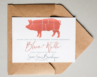 bbq invitation brush calligraphy | rehearsal dinner invitation | barbecue invitation | BBQ invite | event invitation | cookout invitation