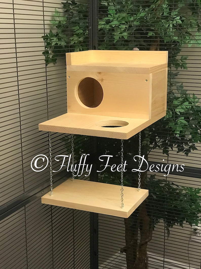 Large Kiln Dried Pine Chinchilla Wood House with Poop Guard image 0