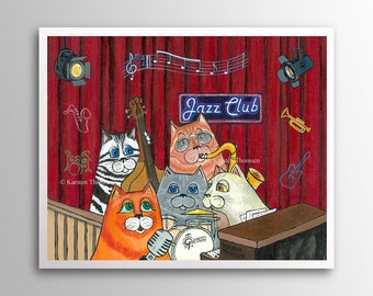 Jazzy Cats – My Baby Just Cares for Me | Art Print | Whimsical Cat Musicians in Jazz Club