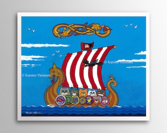 Viking Cats - FURocious Tribe | Art Print | Whimsical Viking Cats Sailing in a Longboat