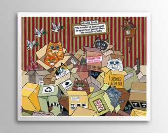 Cats in Boxes – Heap of Fun | Art Print | Whimsical Cats in Cardboard Boxes