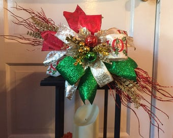 "24"" Christmas Ribbon Swag Bow for Lantern - Red/Green/Gold"