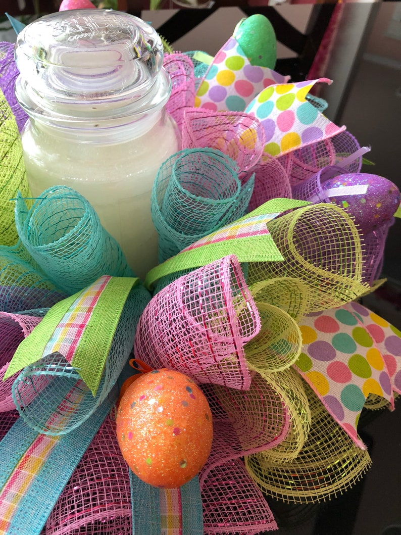 17 Easter Deco Mesh CenterpieceCandle Holder with Eggs Multicolor