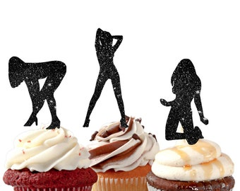 Bachelor Party Mans Birthday Sexy Girls Cupcake Toppers For The Groom Stripper Girl Boys
