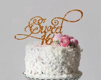 Sweet 16 Cake Topper Happy Birthday Cake Topper Sweet Sixteen Cake Topper Sweet 16 Birthday Party Custom Cake Topper Sweet 16 Party Decor