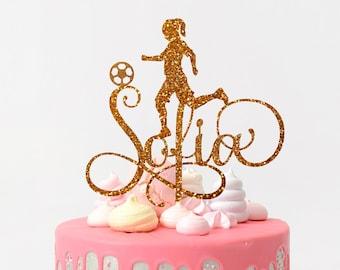 Footballer Cake Topper Custom Name Cake Topper Birthday Cake Topper  Sports Birthday Soccer Party Footballer Birthday Cake Topper