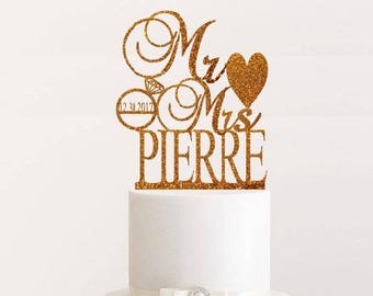 Wedding Cake Topper Personalized Wedding Cake Topper Rose Gold Custom Mr and Mrs Cake Topper Rose Gold Last Name Wedding Rustic Cake Topper