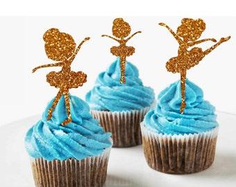Ballerina Cupcake Toppers Ballerina Party Decorations Ballerina Birthday Party Cupcake Ballerina Birthday Ballet Girls Birthday Decorations