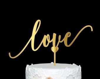 Love Cake Topper Wedding Cake Topper Wood Cake Topper Engagement Cake Topper Love Wood Cake Topper