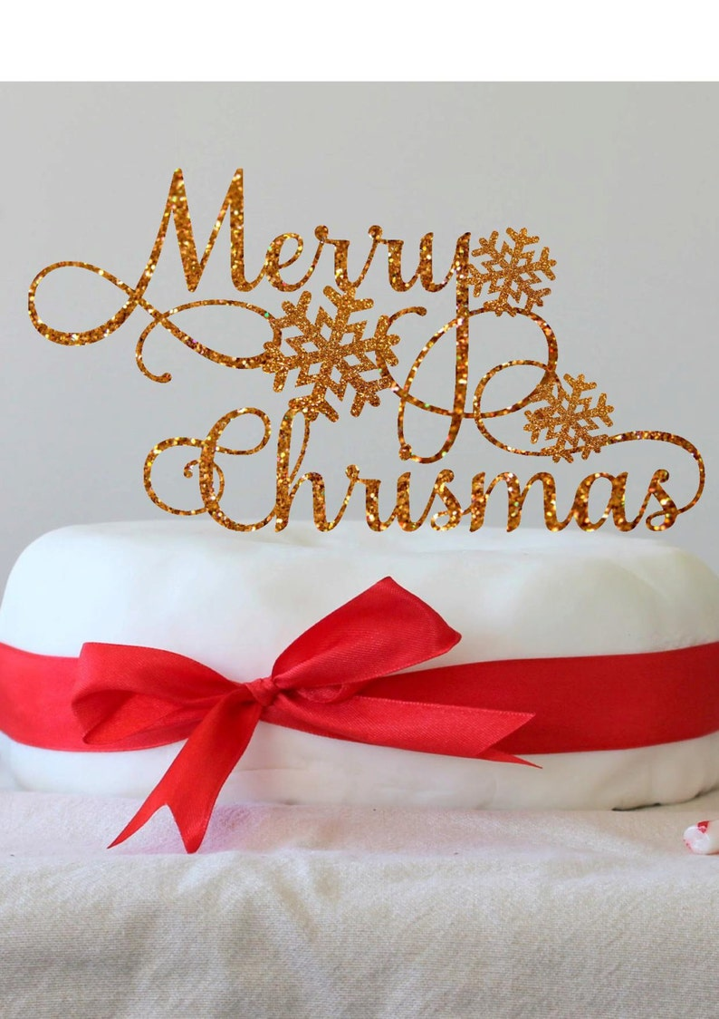 Christmas Cake Topper Holiday Party Decor Christmas Table image 0