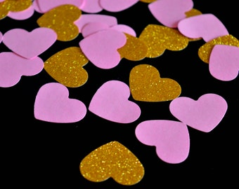 Pink and Gold Heart Confetti Wedding Confetti First Birthday Party Sweet 16 Pink Gold Wedding Bridal Shower Bridal Brunch Party Decor